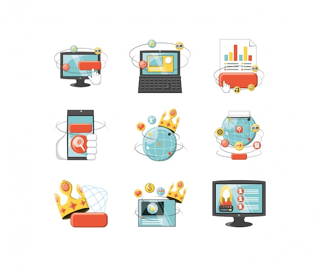 Variety digital icon set pack vector design