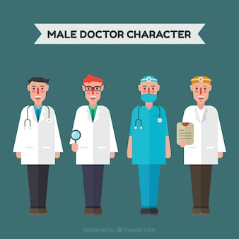 Variety of doctors with different outfits