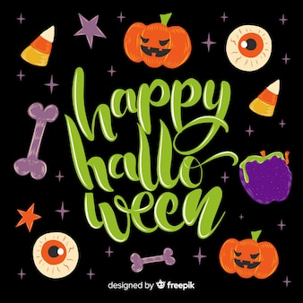 Variety of elements for happy halloween lettering