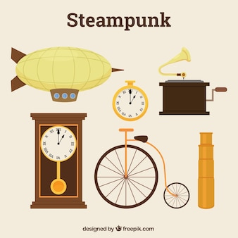 Variety of elements in steampunk style