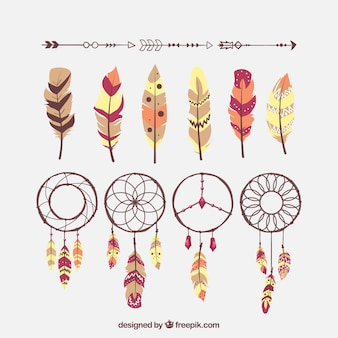 Variety of ethnic feathers and dreamcatchers