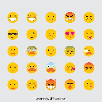 Variety of expressive emojis in flat design