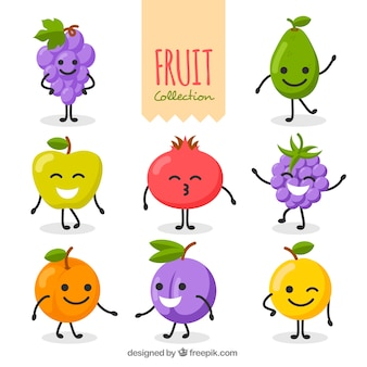 Variety of fantastic fruit characters in flat design