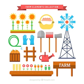 Variety of farm elements in flat design