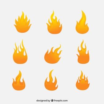 Varietà di fiamme in design piatto