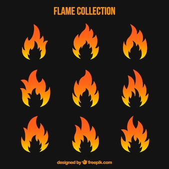Variety of flames in flat design