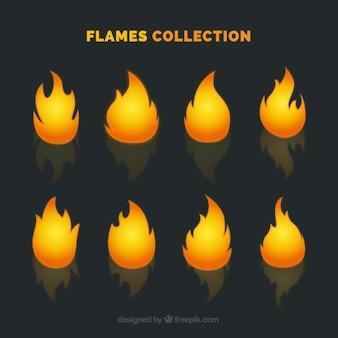 Variety of flames in orange tones