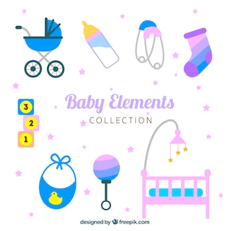 Variety of flat baby elements