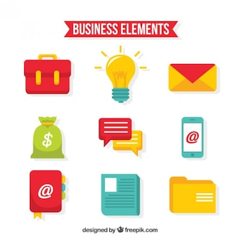 Variety of flat business elements Free Vector