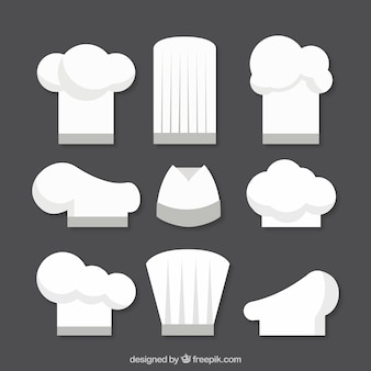 Variety of flat chef hats