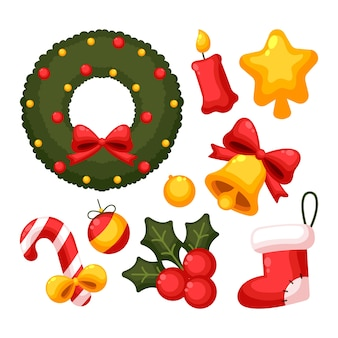 Variety of flat christmas decorations