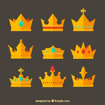 Variety of flat crowns with fantastic designs