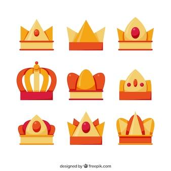 Varietà di corone piatte con dettagli in arancione