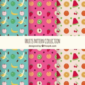 Variety of flat fruit patterns