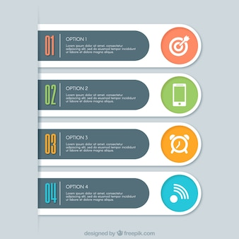 Variety of flat infographic banners with decorative icons