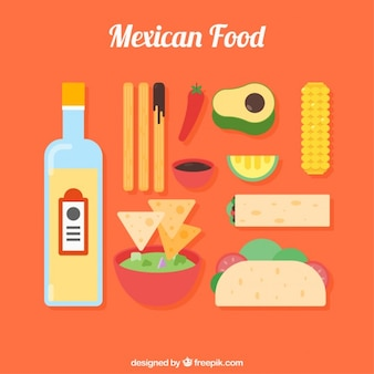 Variety of flat mexican food and products