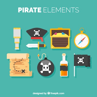 Variety of flat pirate elements