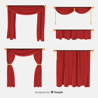 Variety of flat red curtain collection