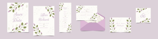 Variety of floral wedding stationery in violet
