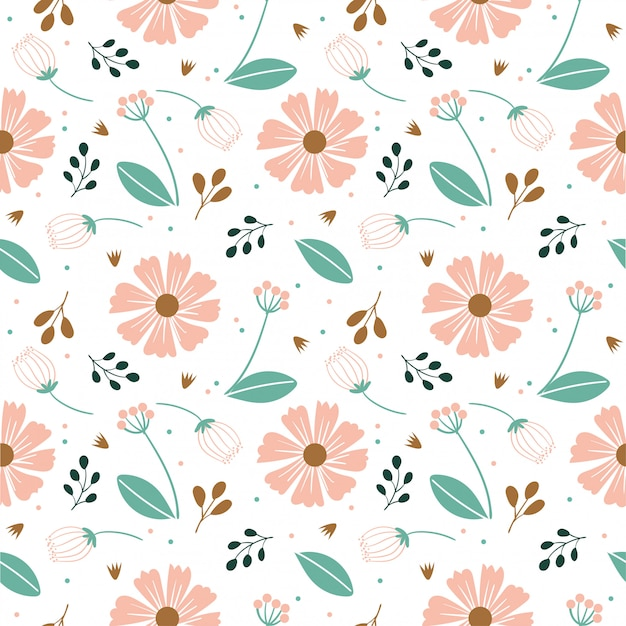 Variety flower and leaf seamless pattern