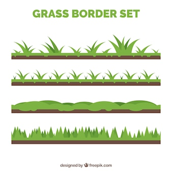 Variety of four grass borders with different designs