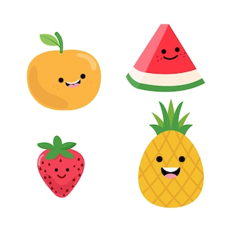 A variety of fresh and very cute fruit characters