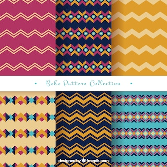 Variety of geometric patterns in boho style