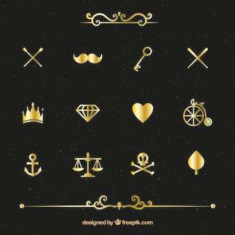 Varietà di elementi di confezione d'oro