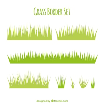 Variety of grass borders in flat design