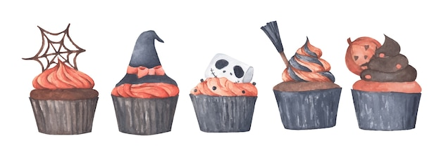 Variety of halloween cupcakes . watercolor illustration.