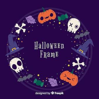 Variety of halloween decoration border