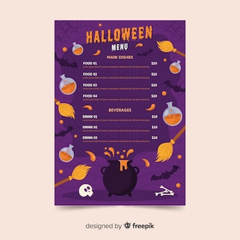 Variety of halloween decoration menu template