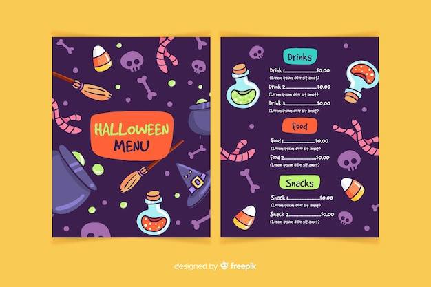 Variety of halloween elements menu template