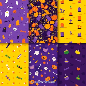 Variety of halloween monsters pattern collection
