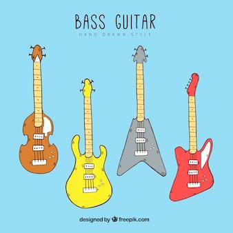 Variety of hand-drawn bass guitars
