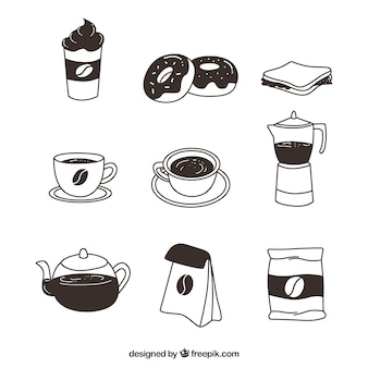 Variety of hand-drawn cafe items
