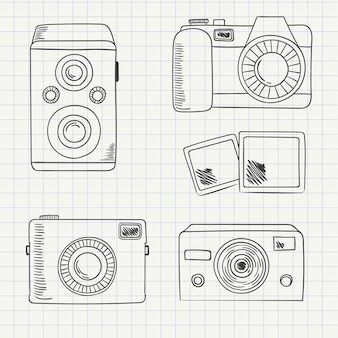 Variety of hand drawn cameras