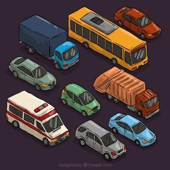 Varietà di automobili disegnate a mano