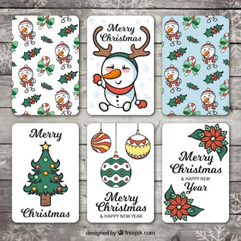 Variety of hand drawn christmas cards and happy new year