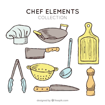 Variety of hand-drawn cook objects