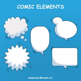 Variety of hand drawn elements comic