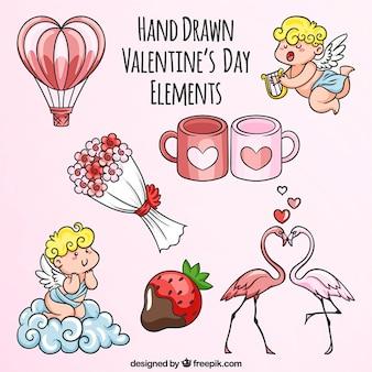 Varietà di elementi disegnati a mano per san valentino