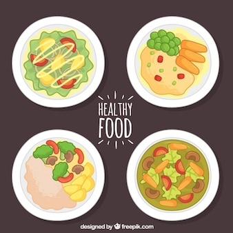Variety of hand-drawn healthy dishes