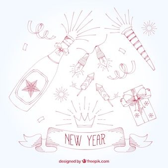 Variety of hand drawn new year party ornaments