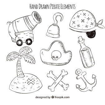 Variety of hand-drawn pirate items