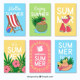 Variety of hand-drawn summer cards