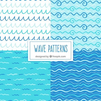 Variety of hand-drawn wave patterns