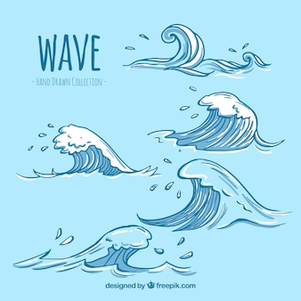 Variety of hand-drawn waves with great designs