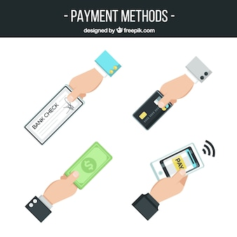 Variety of hands with different payment methods