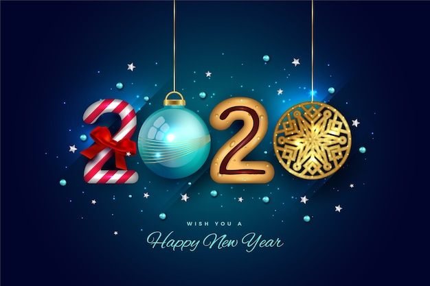 Variety of hanging elements for 2020 new year text
